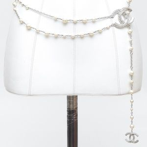 CHANEL Pearl Chain Belt Necklace Crystal CC Silver
